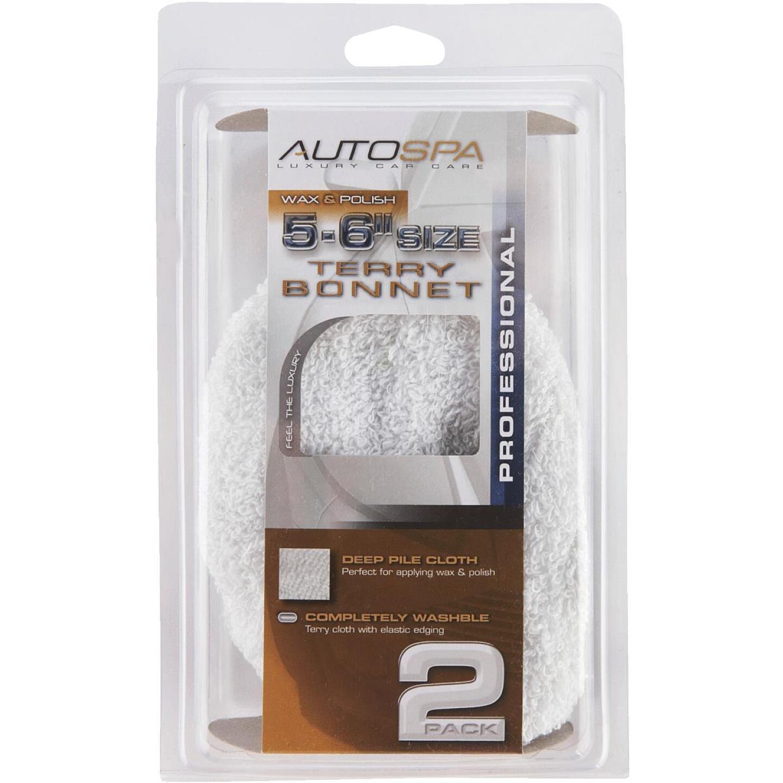 "Auto Spa 5"" To 6"" Washable Cotton Polishing Bonnet, (2-Pack) Image 2"