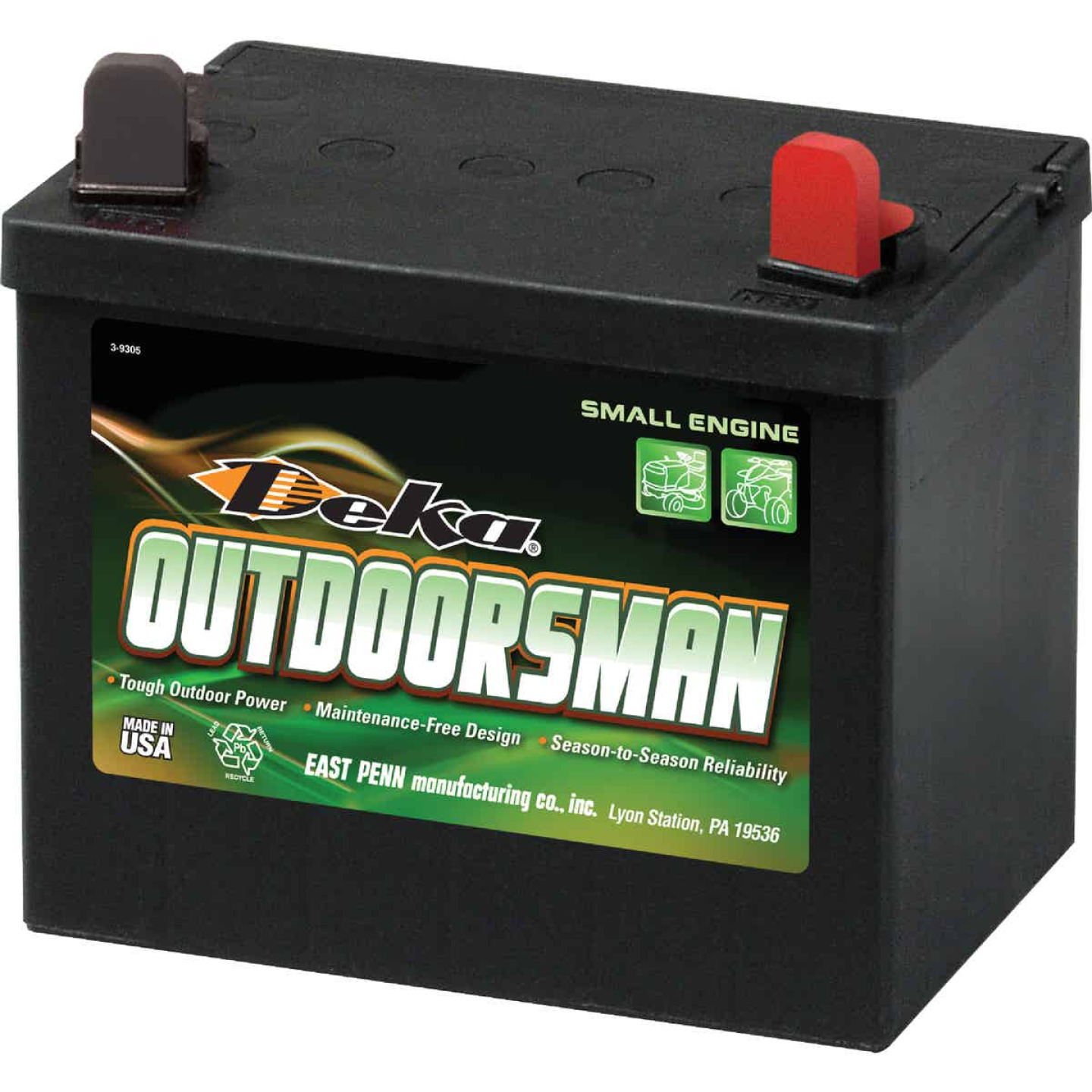 Deka Outdoorsman 12-Volt Lawn & Garden 230 CCA Small Engine Battery, Right Front Positive Terminal Image 1