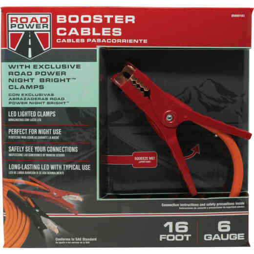 Southwire 16 Ft. 6 Gauge Booster Cable with Road Power Night Bright Clamps
