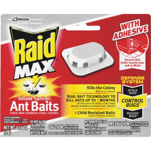 Raid Max Double Control 0.14 Oz. Solid Ant Bait Station (4-Pack)