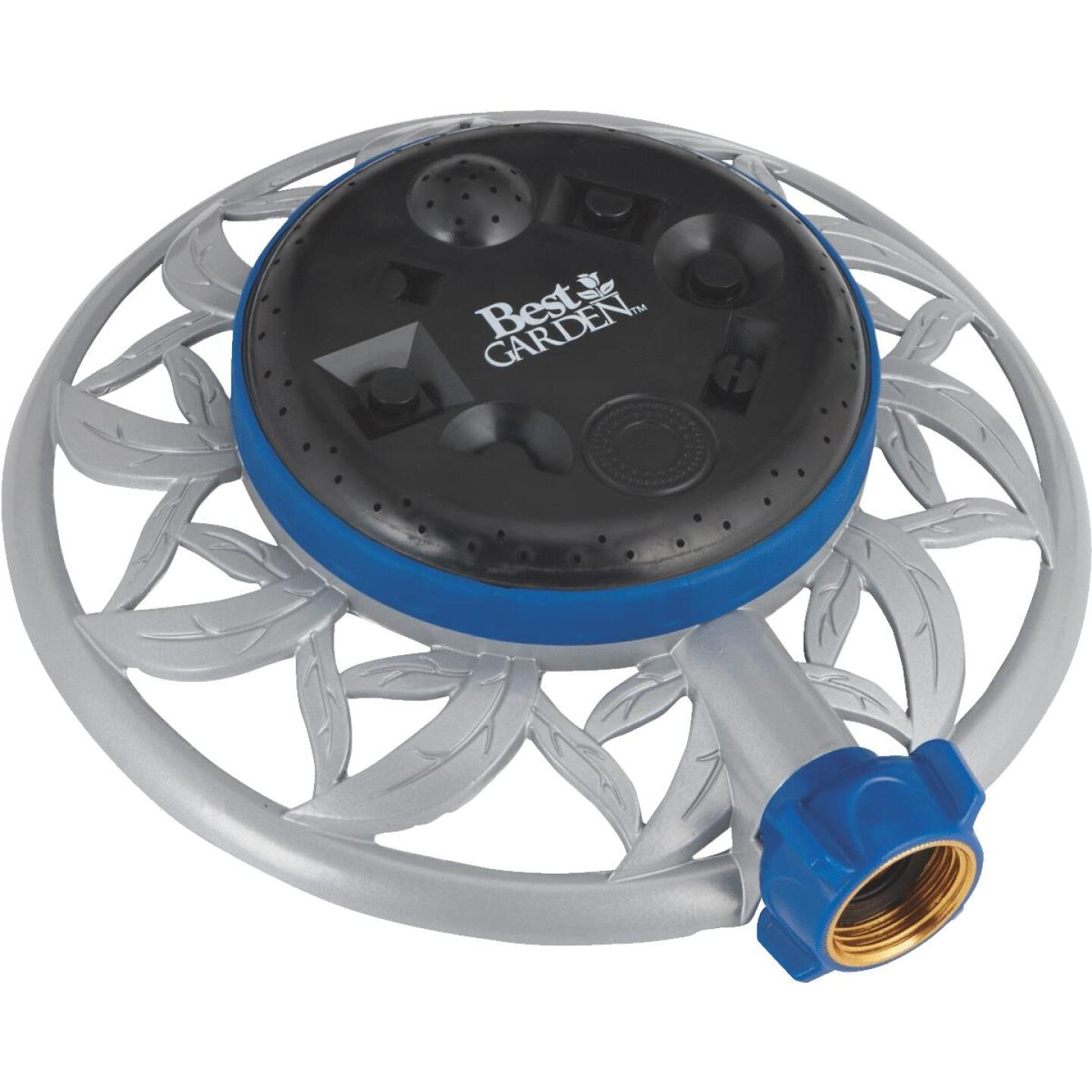 Best Garden Metal Varied Coverage Stationary Turret Sprinkler, Blue/Gray/Black Image 1