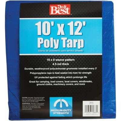 Do it Best Blue Woven 10 Ft. x 12 Ft. Medium Duty Poly Tarp