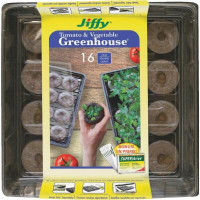 Jiffy 16-Cell 11 In. W. x 11 In. L. Seed Starter Greenhouse Kit with Superthrive