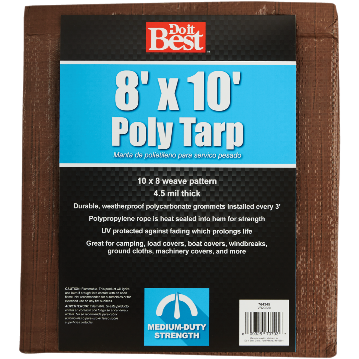 Do it Best 1 Side Green/1 Side Brown Woven 8 Ft. x 10 Ft. Medium Duty Poly Tarp Image 2