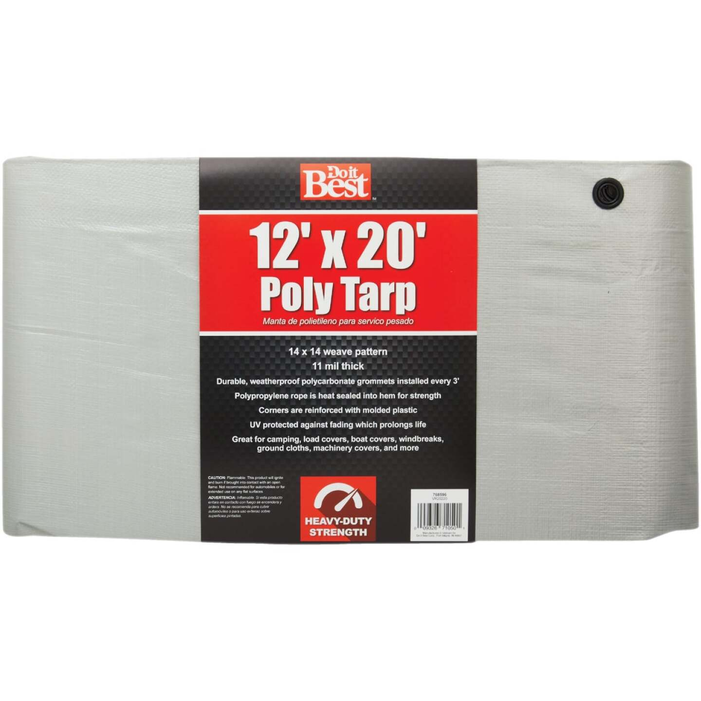 Do it Best Silver Woven 12 Ft. x 20 Ft. Heavy Duty Poly Tarp Image 1